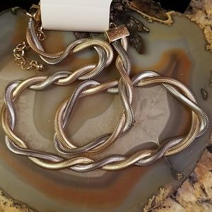 Charming Charlie 2 tone twisted rope necklace NWT